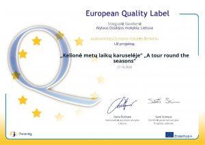 Mokyklos eTwinning projektams įteikti Europos kokybės ženkleliai
